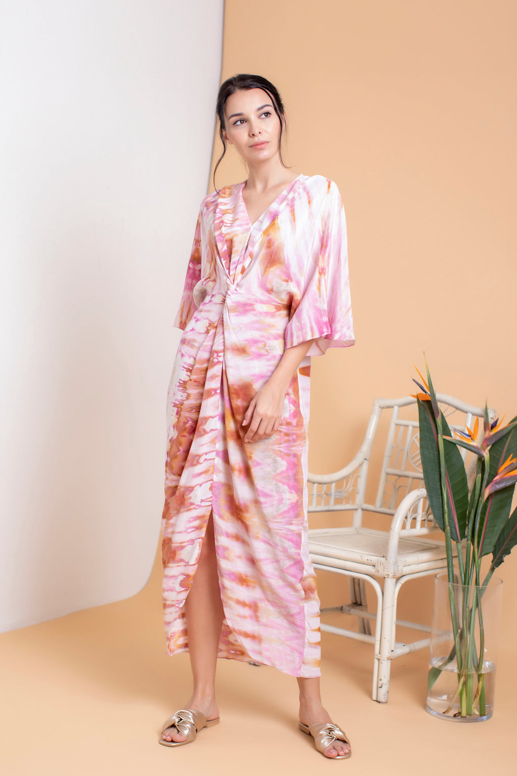 Shibori Front Twisted Kaftan - FERN