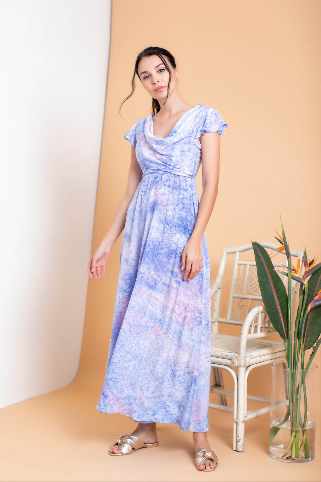 Audelia Cowl Maxi Dress - FERN