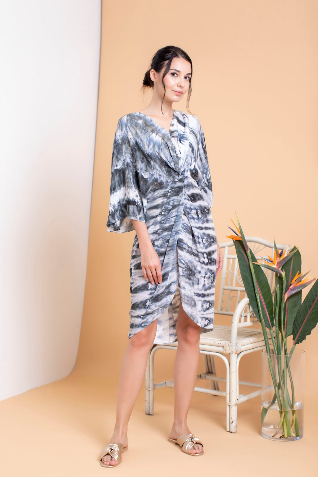 Shibori Short Front Twisted Kaftan - FERN