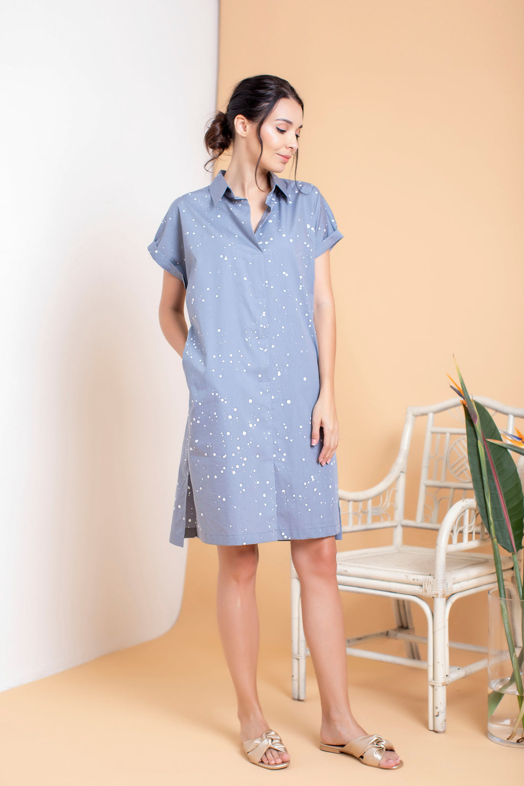 Snowfall Boxy Shirt Dress - FERN