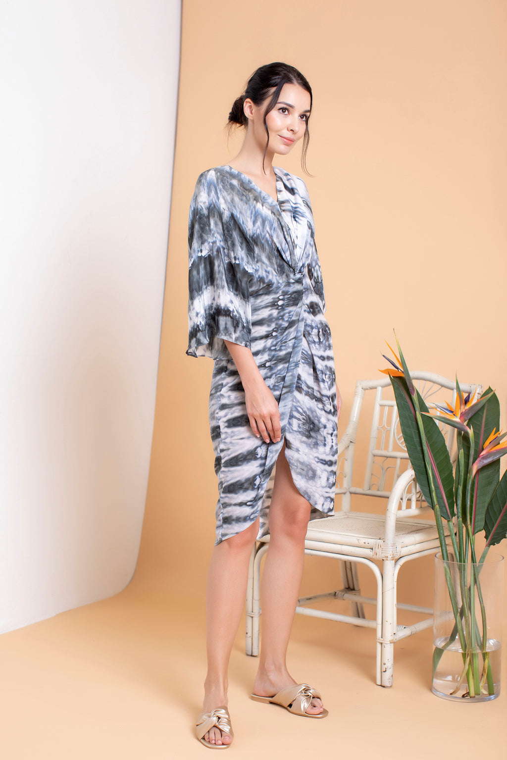 Shibori Short Front Twisted Kaftan