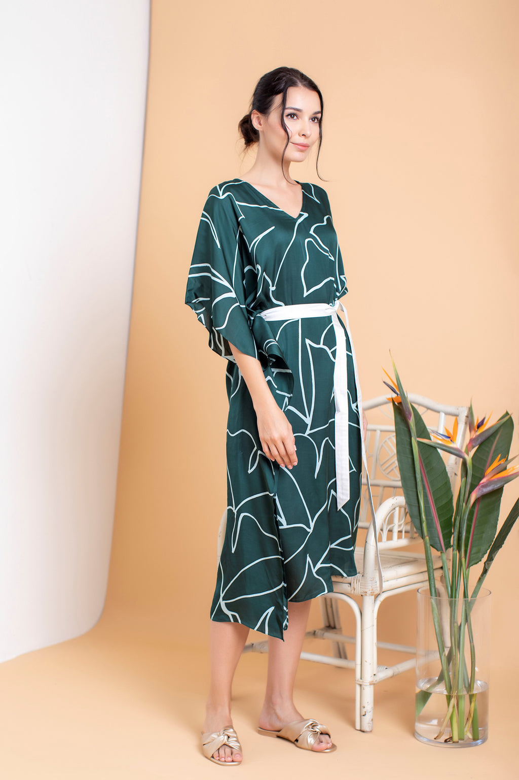 Amani Asymmetrical Midi Dress - FERN