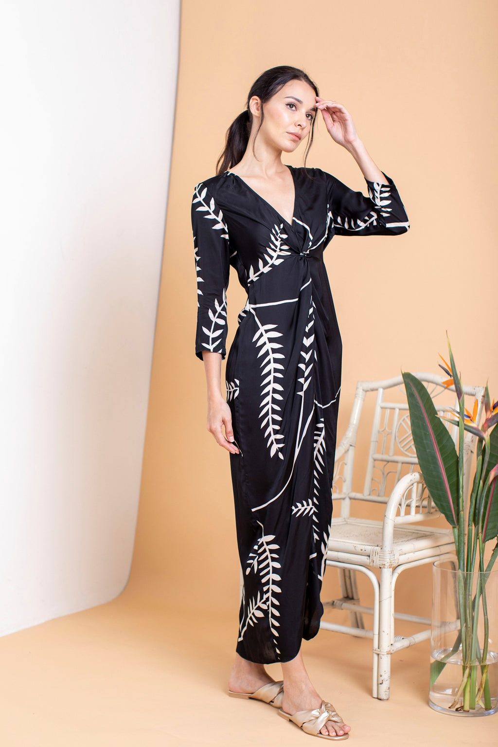 Cherie Fitted Front Twisted Maxi - FERN
