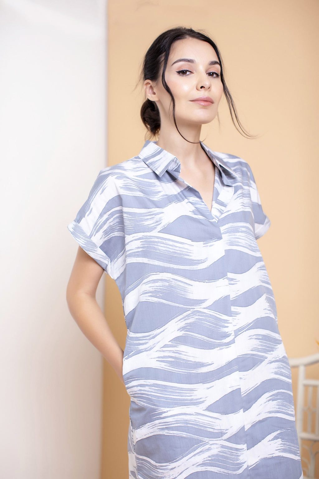 Waves Boxy Shirt Dress - FERN