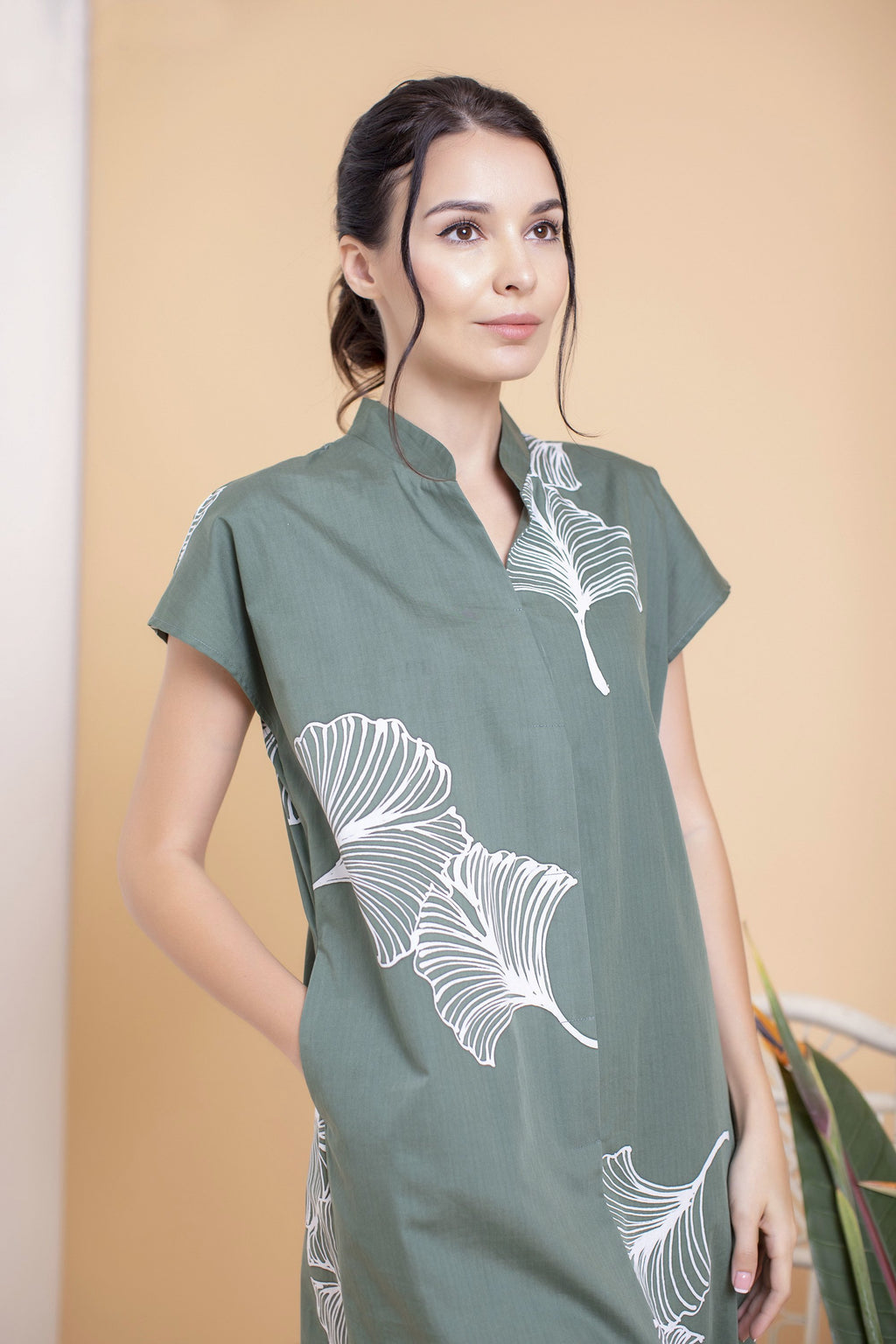 Ginkgo Mandarin Collar Boxy Dress - FERN