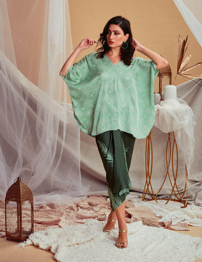 Drape V Long Sleeve Blouse - FERN