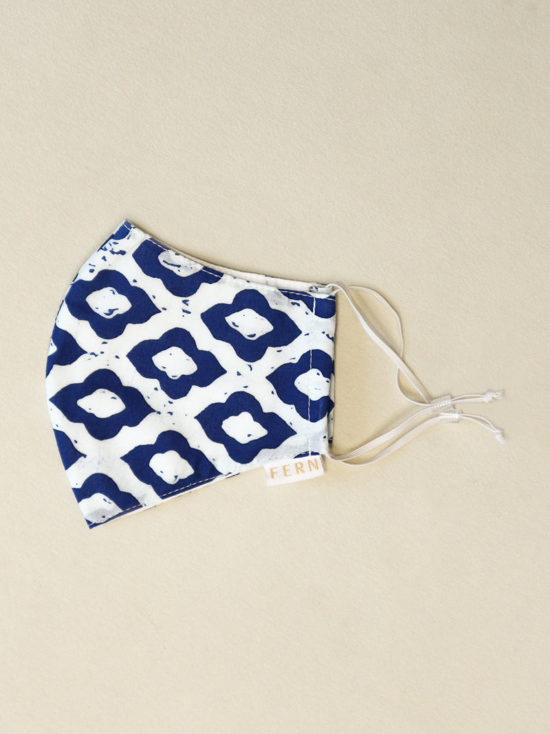 Face Mask - Ogee Royal Blue - FERN