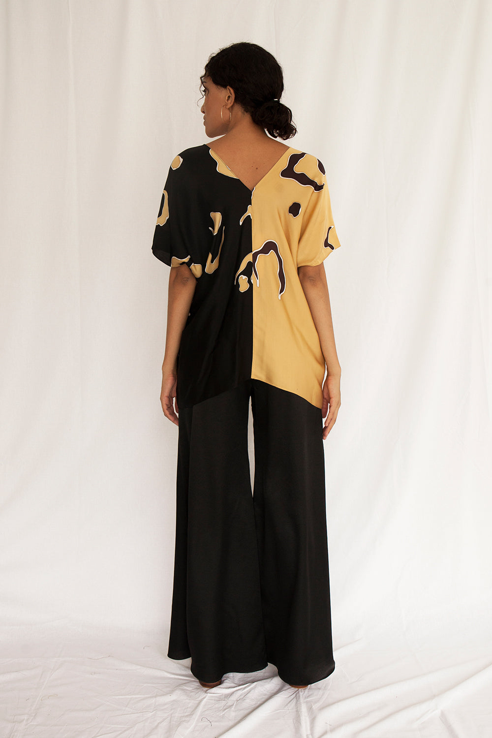 Safari Holiday Drape V Blouse - FERN