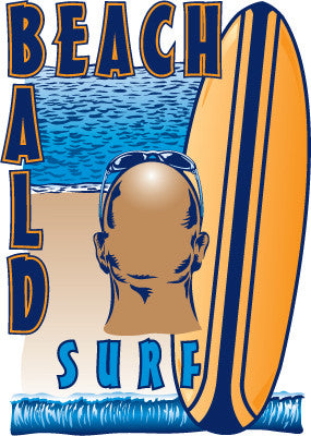 BEACH BALD SURF on navy blue 100% cotton ss t-shirt
