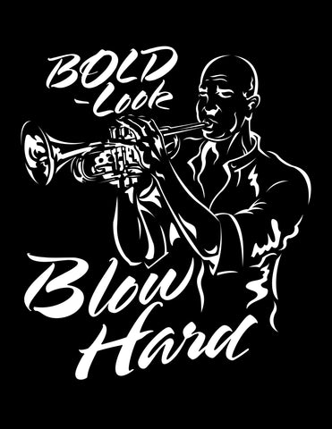 BLOW HARD on black 100% cotton ss t-shirt