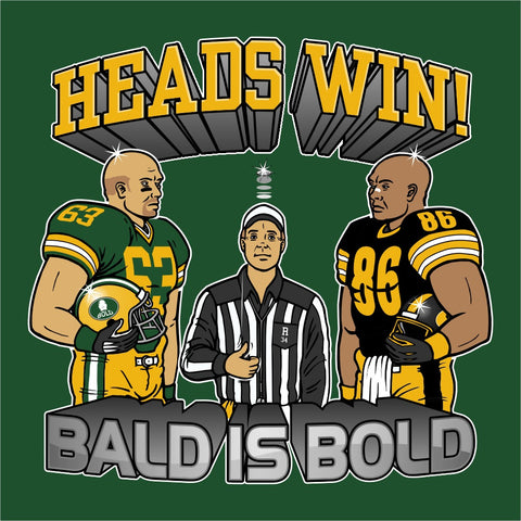 HEADS WIN on forest green 100% cotton ss t-shirt