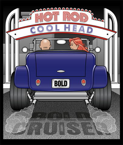HOT ROD...COOL HEAD on a black 100% cotton ss t-shirt