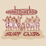 NAKED HEAD SURF CLUB on sand 100% cotton ss t-shirt