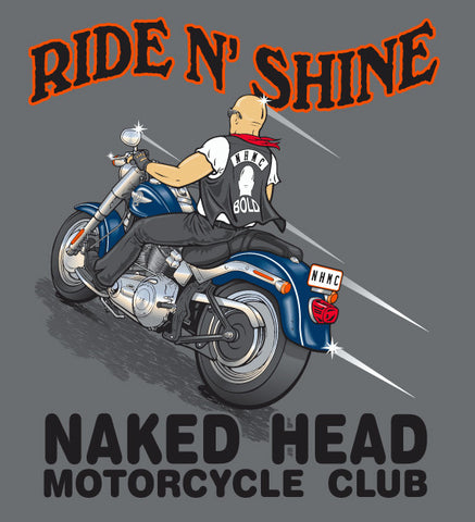 RIDE 'N SHINE on charcoal 100% cotton ss t-shirt