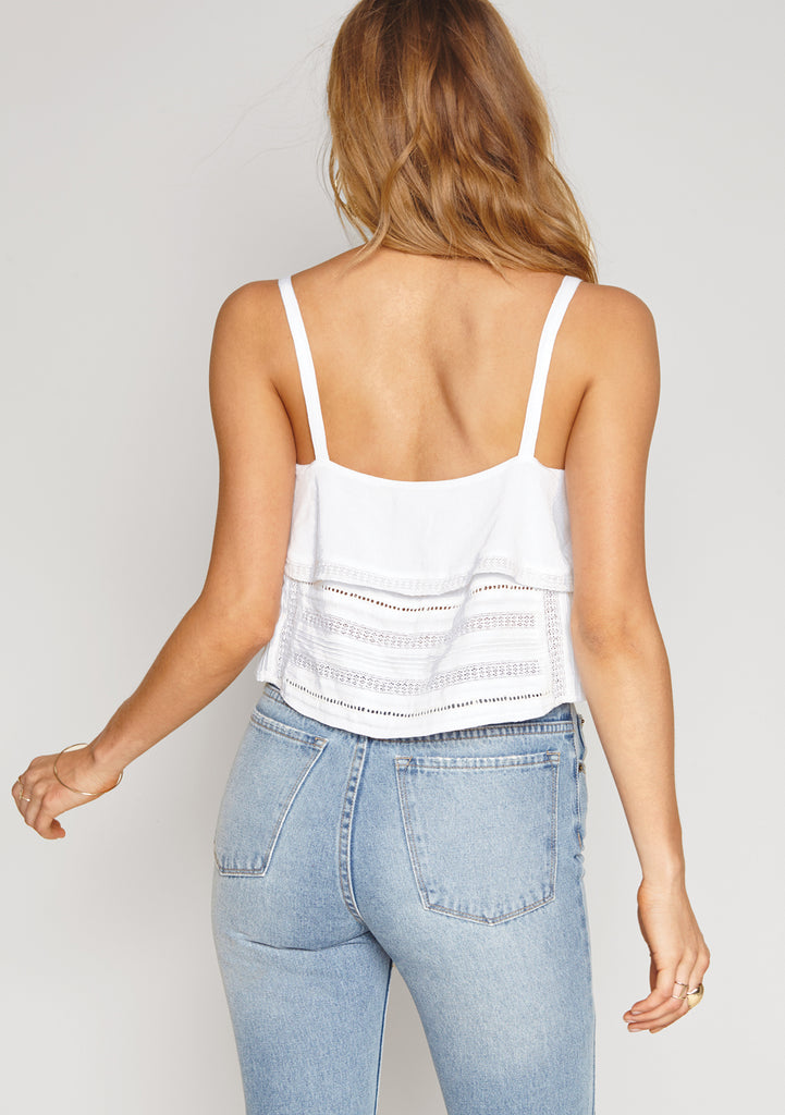Amuse Society Hayes Woven top White - Back View