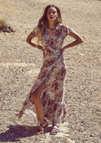 Beach House Floral Wrap Dress Longbeach Floral - Front View