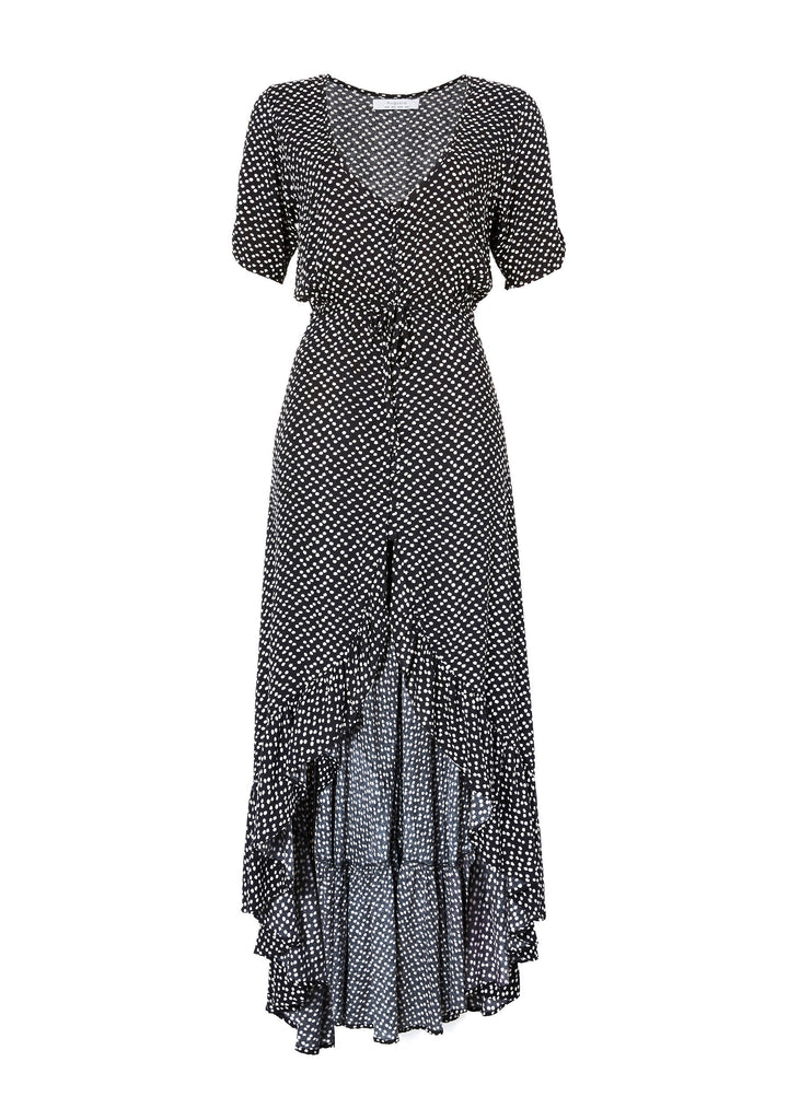 Auguste Delilah Frill Maxi Dress Penelope Polka Dot Flatlay Front View