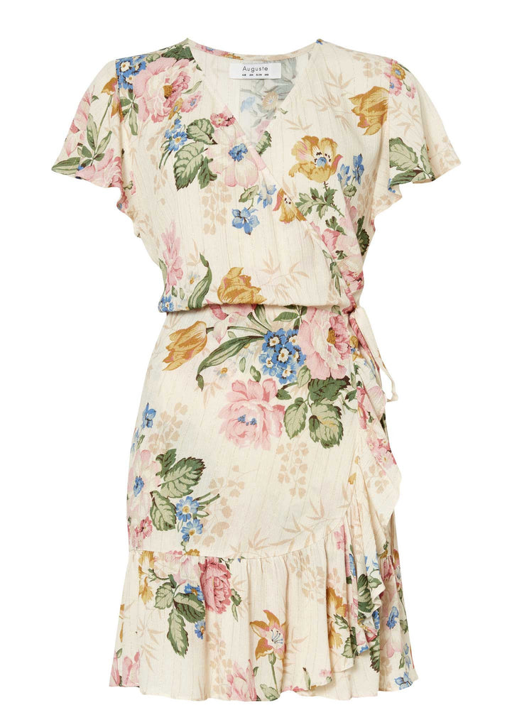 Auguste Frill Wrap Mini Dress - Flatlay Front View