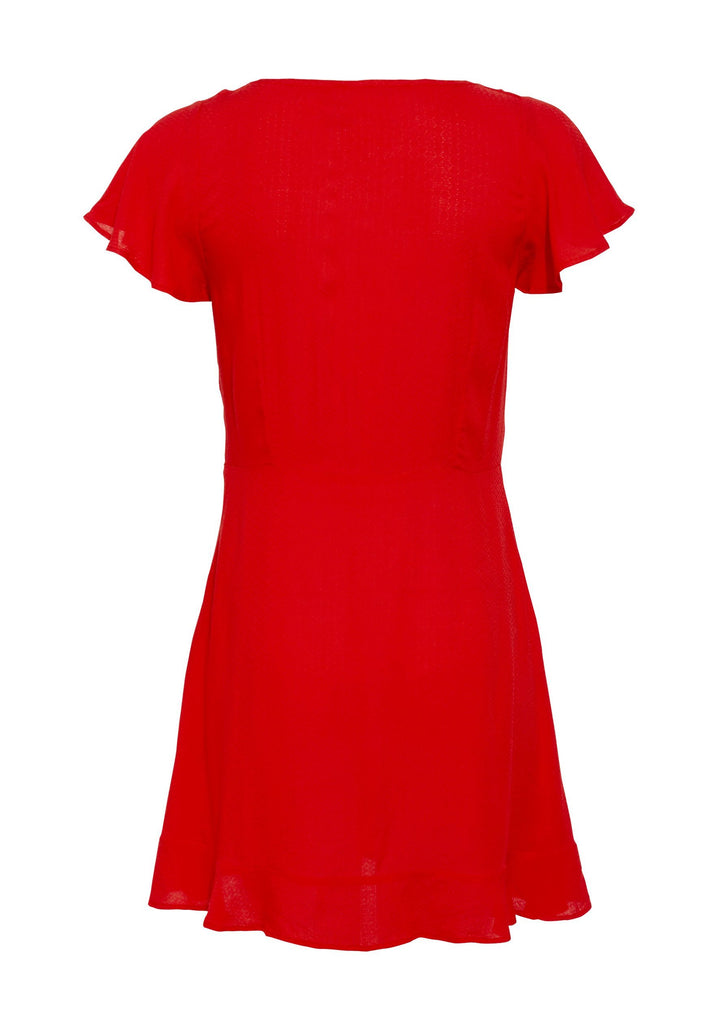 Auguste Ella Split Front Play Dress Red Flatlay Back View