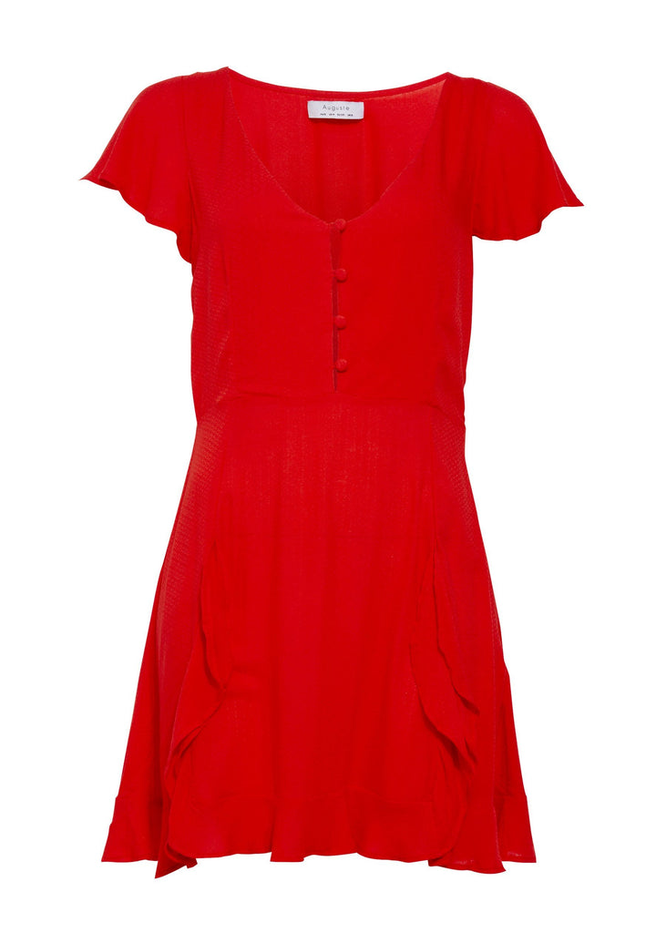 Auguste Ella Split Front Play Dress Red Flatlay Front View