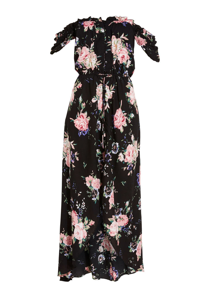 Auguste Leila Button Down Day Dress Vintage Bloom Black Flatlay Back View