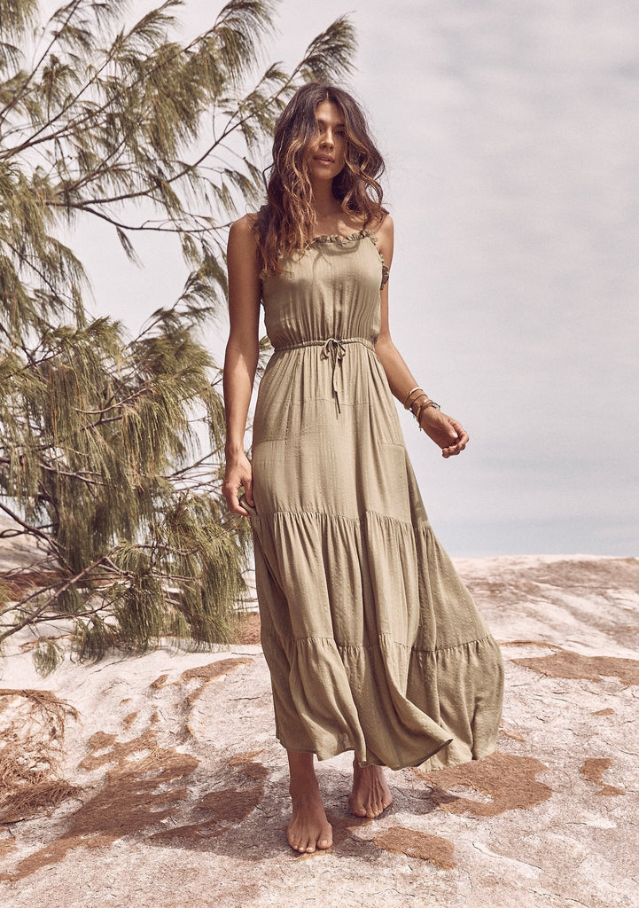 Auguste Luella Fleur Maxi Dress Khaki Front View