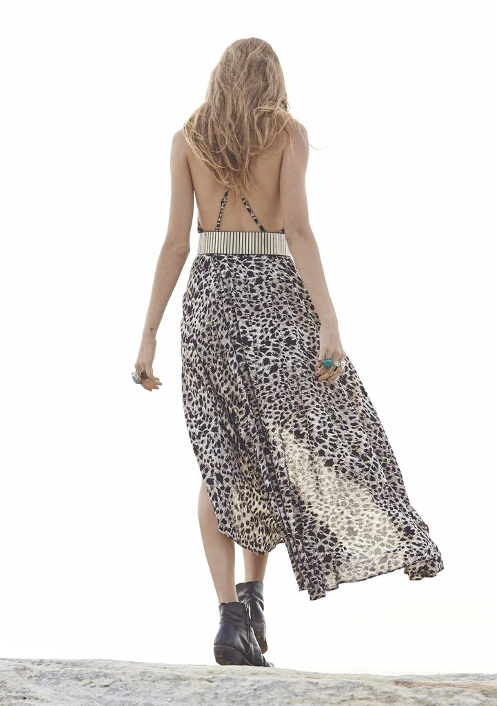 The Open Road Backless Splash Maxi Dress Back View