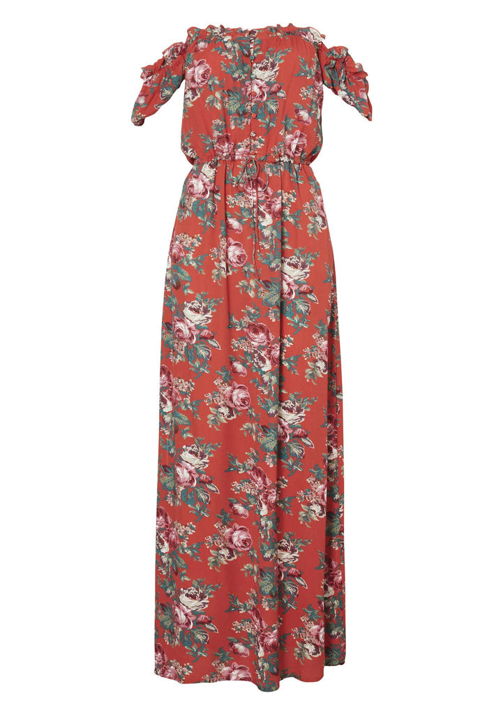 Auguste Stevie Maxi Dress Vintage Heart Red - Flatlay