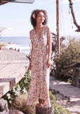 Auguste Wild Rose Maxi Wrap Dress Natural Front View 3