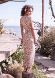 Auguste Wild Rose Maxi Wrap Dress Natural Back View