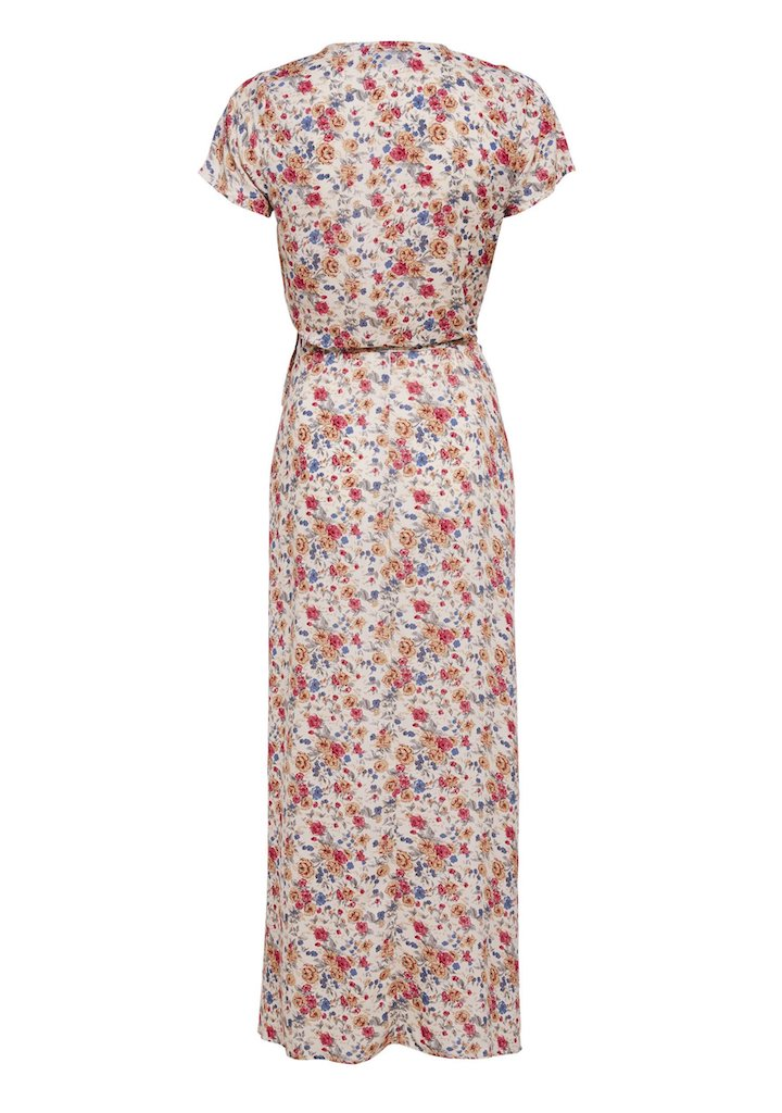 Auguste Wild Rose Maxi Wrap Dress Natural Flatlay Back View