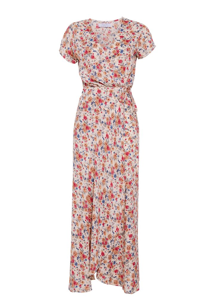 Auguste Wild Rose Maxi Wrap Dress Natural Flatlay Front View