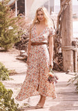 Auguste Wild Rose Maxi Wrap Dress Natural Front View 2