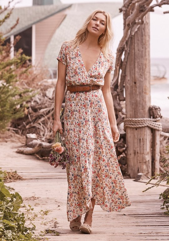 Auguste Wild Rose Maxi Wrap Dress Natural Front View