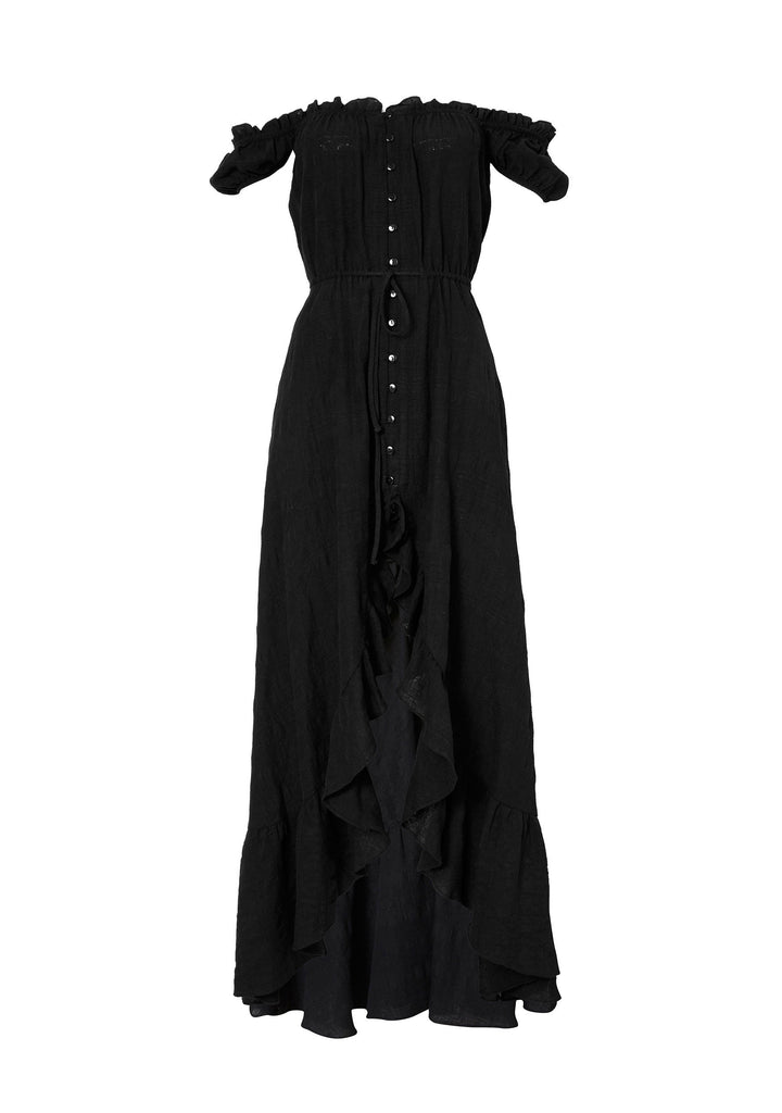 Auguste Willow Day Dress Black Flatlay Front View