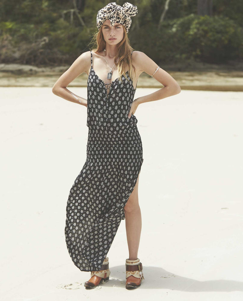 Auguste Day Dream Maxi Dress Bombay Bloom - Auguste the Label Maxi Dress - Black and White Maxi Dress - Front View 2
