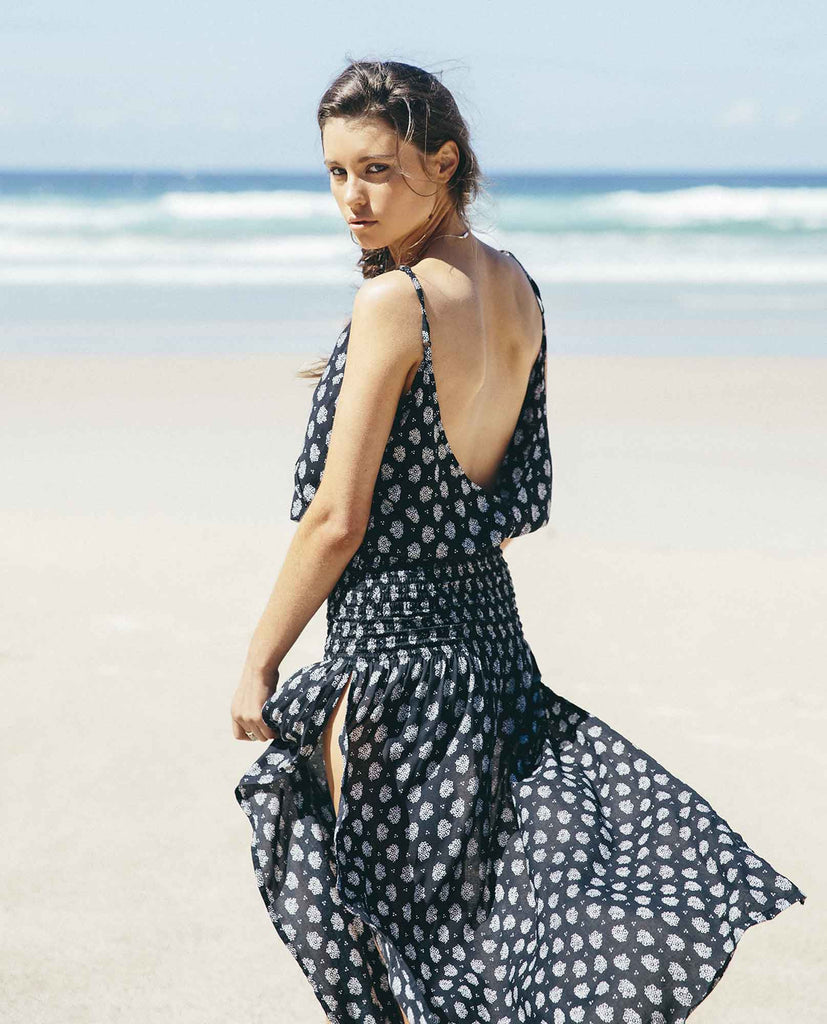Auguste Day Dream Maxi Dress Bombay Bloom - Auguste the Label Maxi Dress - Black and White Maxi Dress - Back View