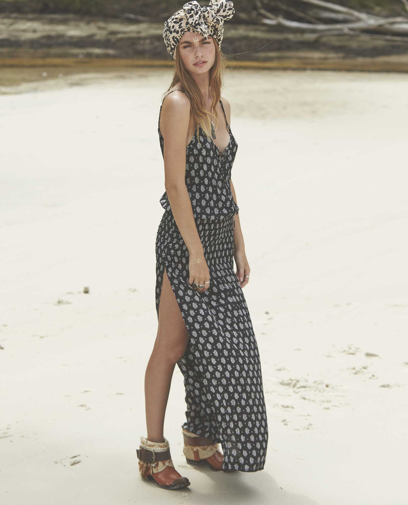 Auguste Day Dream Maxi Dress Bombay Bloom - Auguste the Label Maxi Dress - Black and White Maxi Dress - Side View 2