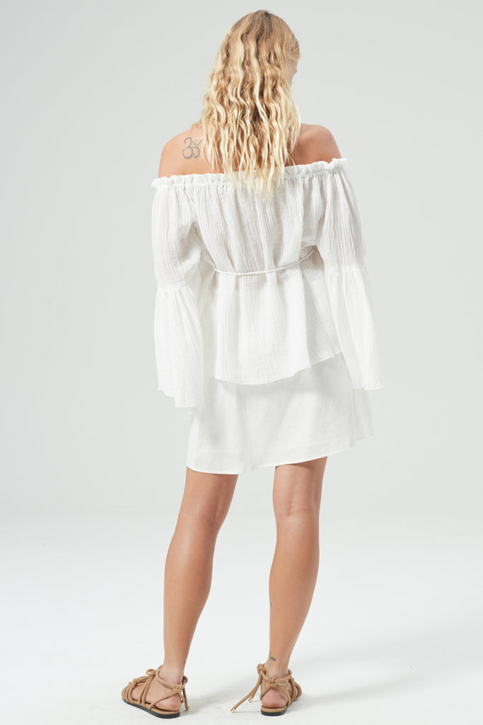 HANSEN & GRETEL Meg Linen Top White Back View