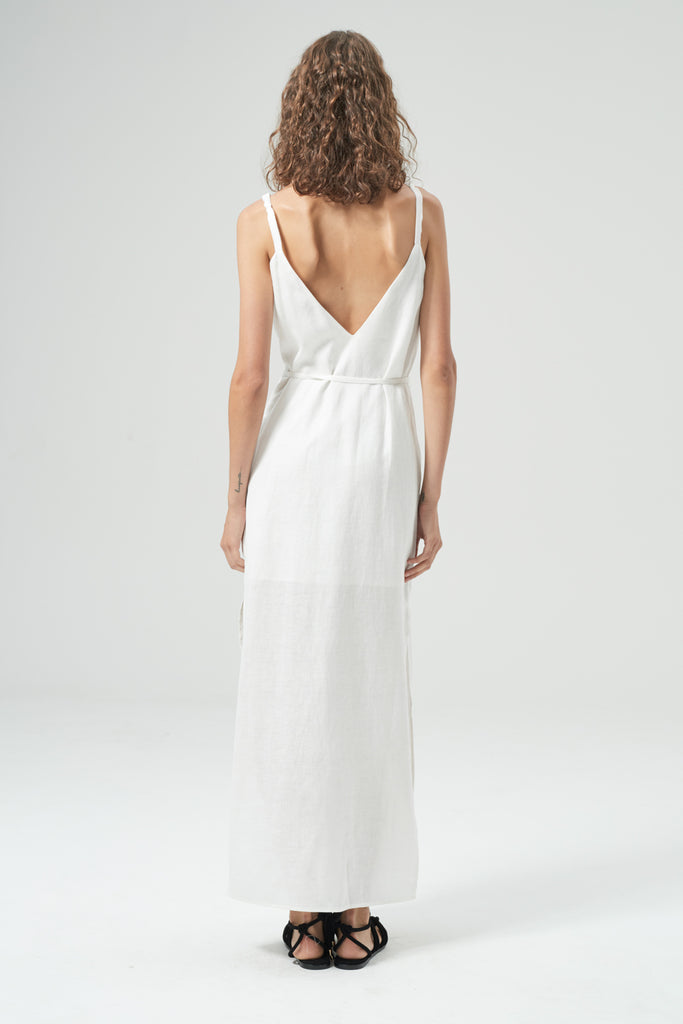 HANSEN & GRETEL Shiloh Linen Dress White Back View 2