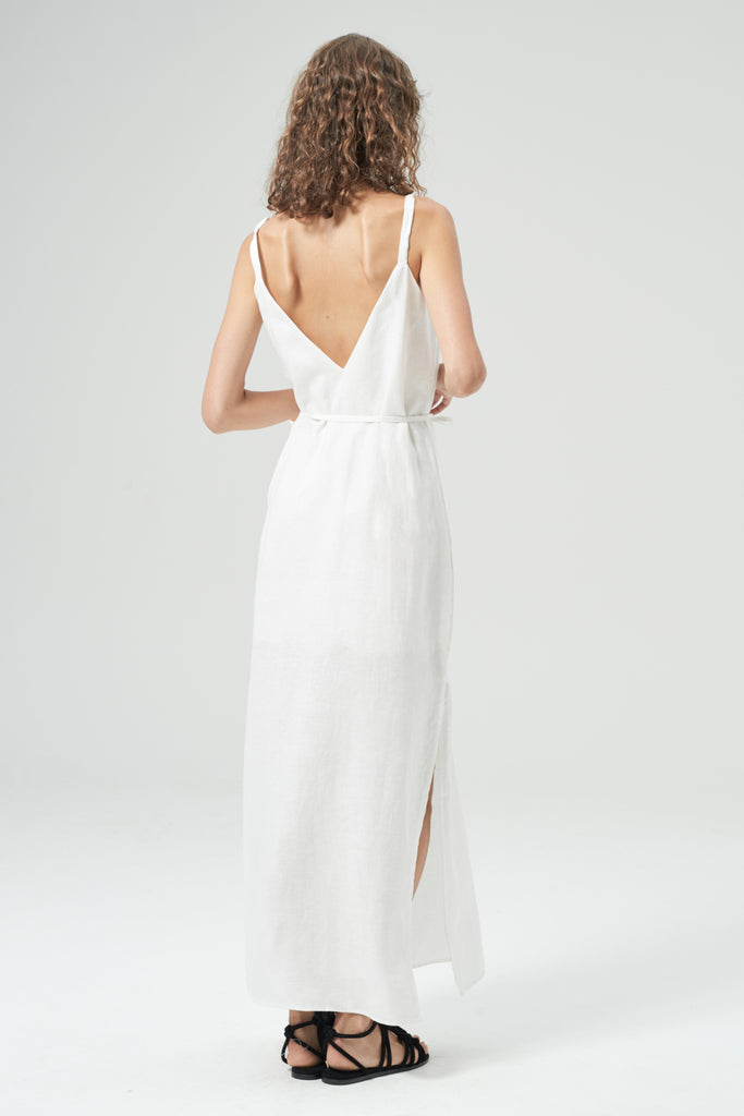HANSEN & GRETEL Shiloh Linen Dress White Back View