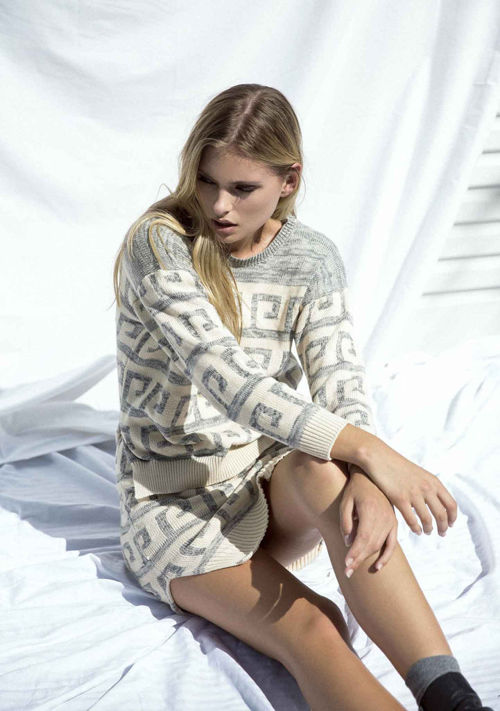 Lottie Hall Tidal Knit Jumper Cream Front View Sitting Down