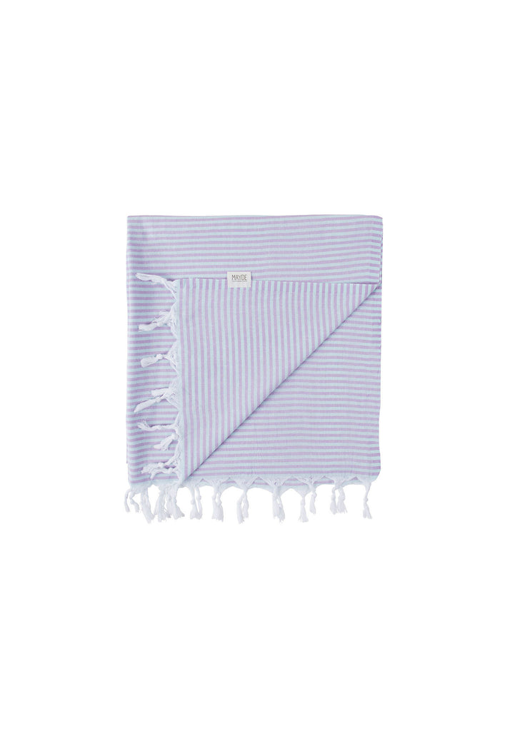 Mayde Noosa Towel Mint and Lilac - Turkish Beach Towels - Folded View