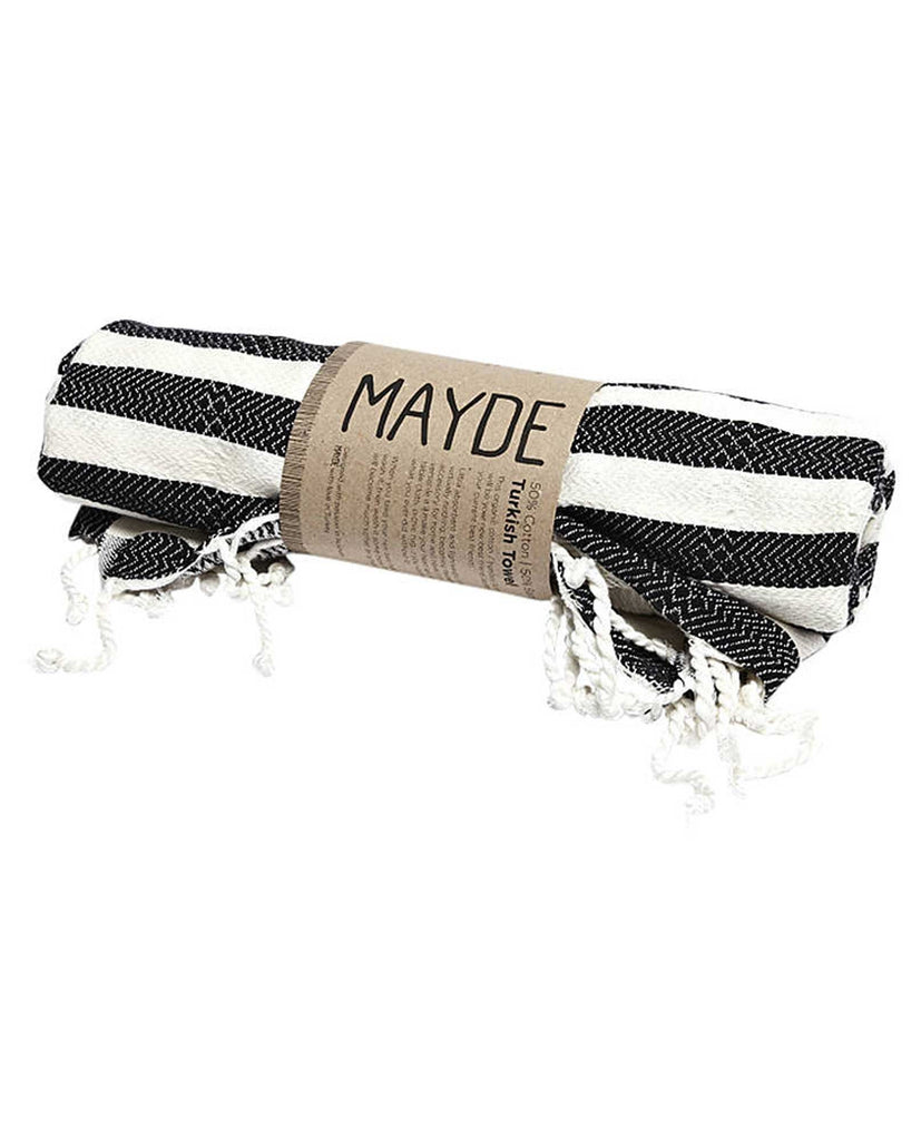 Mayde Reef Towel Black -Turkish Towels - Beach Towel - View 2