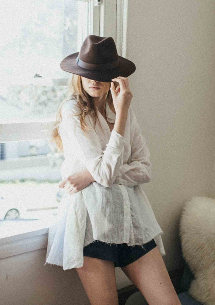 Babydoll White Button-up Shirt Featured in the Rue Stiic Eros Bohemia Campaign