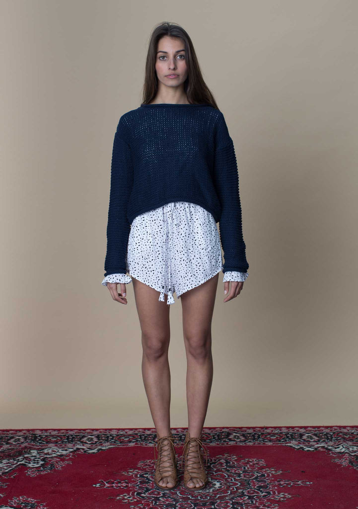Rue Stiic Cropped Navy Knit Front View