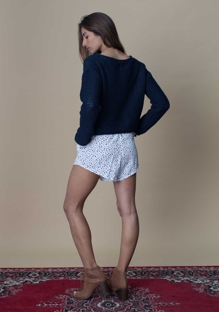 Rue Stiic Cropped Navy Knit Back View