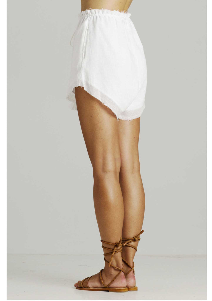Rue Stiic Erin Slouch Shorts White Linen - Back View