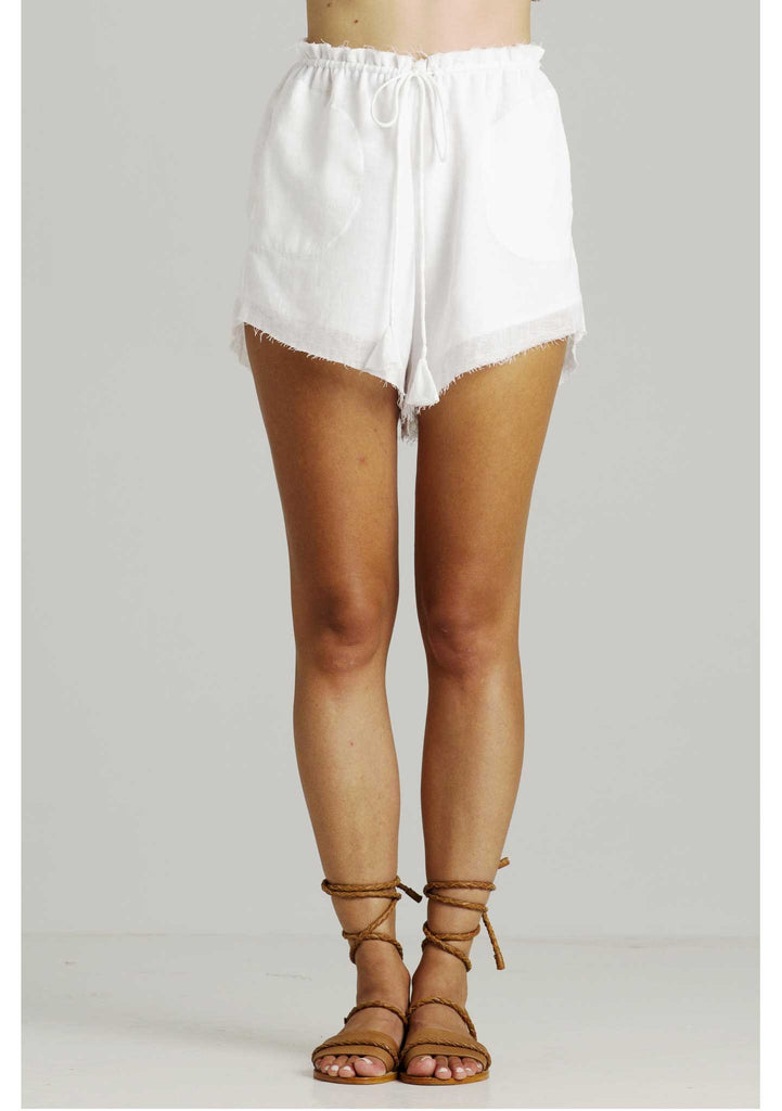 Rue Stiic Erin Slouch Shorts White Linen - Front View