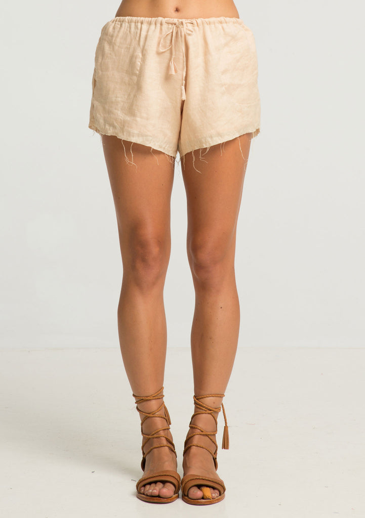 Rue Stiic Harta Shorts - Sand Linen - Front View
